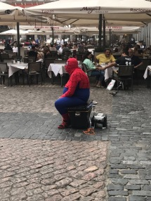 Spiderman in the Plaza-- lay off the pan, hombre.