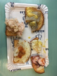Herring, octopus, and cod toasts.