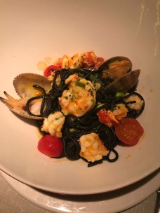 Seafood pasta with squid ink. So so