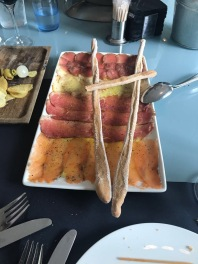 Smoked fish and meat platter