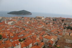 View from our airbnb. The red iconic rooftops from wall to wall in the old city. In the distance, you can see Lokrum, an easy 15 min ferry ride from the Old City.