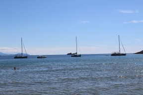 Boats anchored so passengers can swim into the cove area (Corey took this pic)