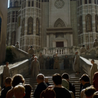 Jesuit Staircase- GoT (how did they add that church in the background?!)
