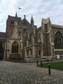 Side view of St Albans cathedral-- looks good from all angles