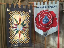 These flags were both hand sewn and welcomed you into the lady chapel.
