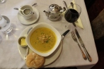 Root vegetable soup and mulled wine