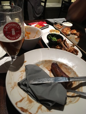 I ate my feelings. The entire plate of sausage and mash. The fourth sausage got away.