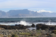 Table Mountain with it's table cloth of cloud cover.