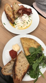 Spanish tortilla with homemade harissa and aioli. Turkish eggs with streaky bacon and chili butter. Both with homemade bread of course.