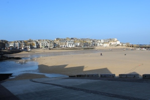 I took a picture of the cove this morning, and now the tide is so low you can walk out as if it were a beach