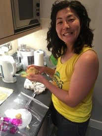 Making tortillas with masa that Ellie brought from CA!