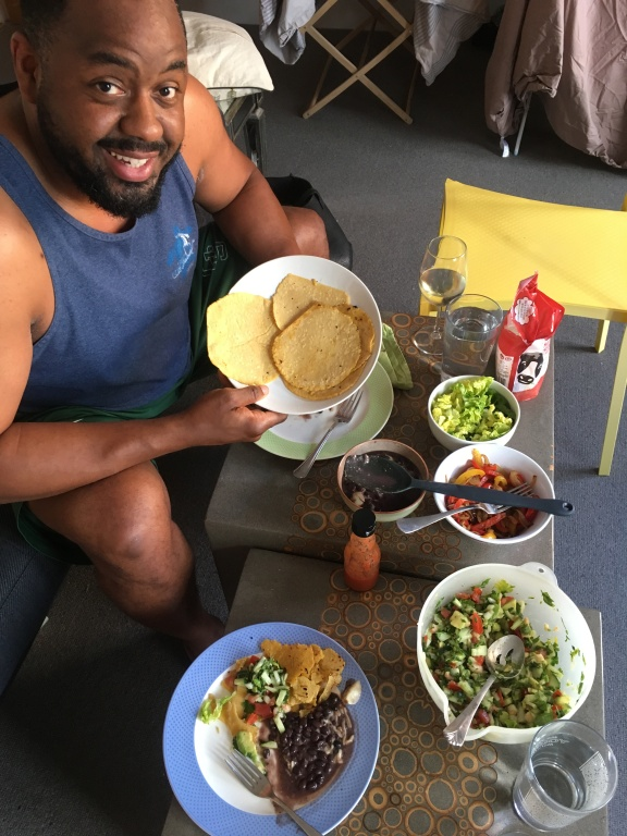 Home made tortillas, shrimp salad filing from Cristina Ramirez recipe, and some extra sides for a summery taco meal.