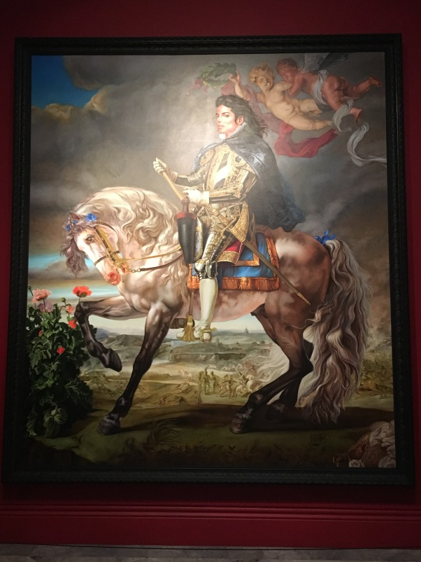 Wiley depicted MJ as a monarch of yore, King Philip II, on a steed in exquisite armor.