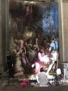 A painter refurbishing bits around Michelangelo's tomb!