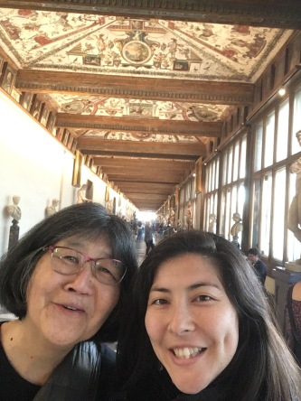 Top floor hallway at the Uffizi.
