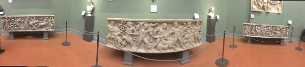 I was able to identify the Greek myths along these three sarcophagi.